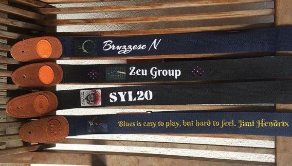 personalised guitar strap black